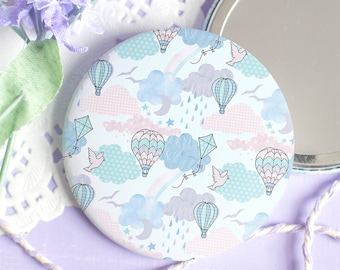 Pastel Pocket Mirror - Every Cloud Collection - Cute Hot Air Balloon Sky