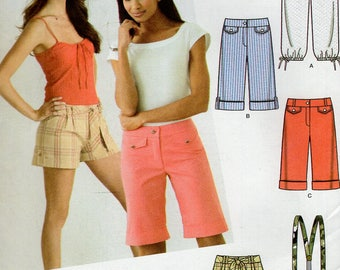 FREE US SHIP Simplicity 3849  Shorts Suspender Bermuda Cargo Cuffed Pocket Fly Front Jr Size  3/4 5/6 7/8 9/10 11/12 13/14 15/16