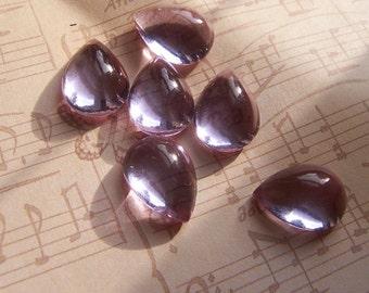 Alexandrite 15x11mm Pear Vintage Glass Cabochon 6 Pcs