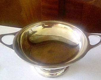 vintage minimalist silver plated bonbon dish.