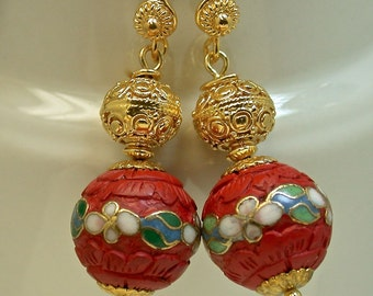 Vintage Chinese RARE Red Cinnabar Dangle Drop Cloisonne Inlaid Bead Earrings, Bali 24K Gold Vermeil Beads, Bali 24k Gold Vermeil Ear Wires