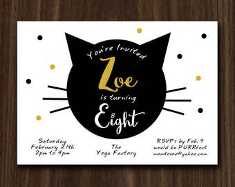DIGITAL FILE Cat Invite, Kitty Cat Invitation, Cat Party, Kitty Cat Invite, Kitty Cat Birthday