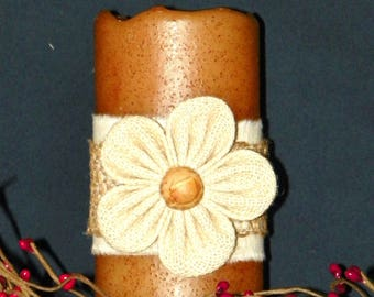 Pillar Candle, LED Burlap Flower on a 6 Inch Primitive Textured TIMER PILLAR Candles, Battery Operated