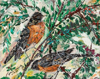 Robins, Red Robin, American Robin wall art, bird print, Bird wall art, impressionistic 16x20 print, by Johno prascak, Pittsburgh artist