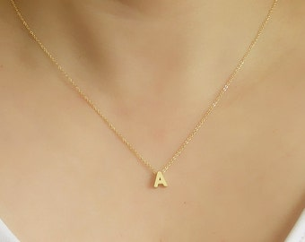 Tiny Initial Necklace-Gold Letter Necklace-Gold initial necklace-Initial letter necklace-Layering necklace-Dainty necklace-Name necklace
