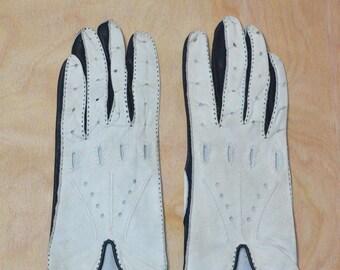 Vintage Estate Black White Leather Cutout Gloves