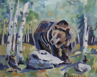 Grizzly Bear and Raven Metal Print of an original oil painting