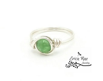 Green Jade beaded wire wrapped ring,  beaded ring,  wire ring,  wire jewelry,  boho ring,  boho jewelry