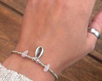 NEW Little Shell & Rose Quartz Bracelet, Natural Rose Quartz Chip Bracelet, Pretty Bracelet, Gift for Her, Beach Jewellery by InTheMomentUK