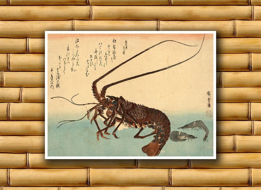 Lobster Art Wall Decor Asian Japan Poster Art Print Japanese