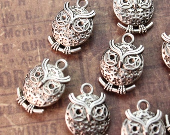 10 Owl Charms Owl Pendants Antiqued Tibetan Silver Double Sided  13 x 15 mm