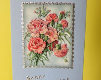 Bouquet of pink carnations, forget-me-nots and money stickers (embossed) 3D card
