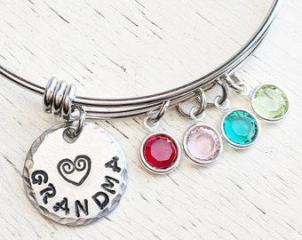 Birthstone Grandma Bangle Bracelet, Nana Grandma Gift, Birthstone Jewelry, Grandmother Gift, Swarovski Birthstones, Grandmother Jewelry