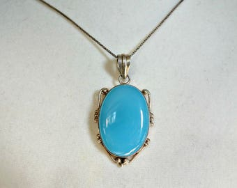 SALE Vintage Sterling Silver  Blue Chalcedony Pendant Now 84.00 was 95.00