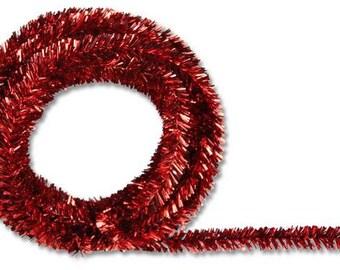 Metallic Red Tinsel Roping XG447824, Tinsel Ribbon, Mesh Supplies, Poly Mesh Supplies, Mesh Ribbon (25 FEET)