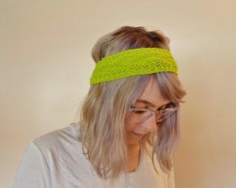Cable Knit Cotton Headband Earmuff | Neon Green