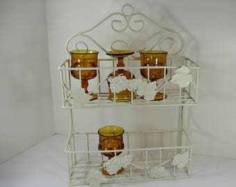 Vintage GRAPES & LEAVES SHELF Metal Wire Wall or Standing Rack Bath Kitchen 2 Shelves Creamy White