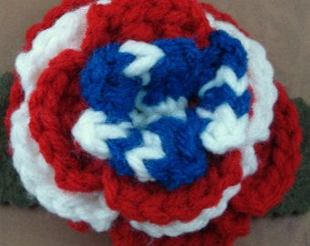 Crocheted Rose Bar Pin - Red, White, and Blue (SWG-PS-HEAM02)