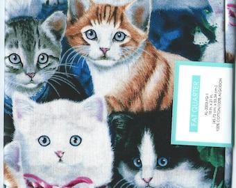 "3 CATS FAT QUARTERS Cotton Fabric.  18"" x 21"" each quarter. Brand new."