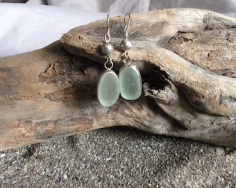 Beach glass and Sterling Earrings
