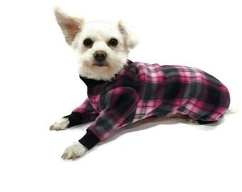 Pink and Black Plaid Fleece Dog Pajamas-Plaid Dog Pajamas-Dog Pajamas-Dog Clothes-Dog Onesie-Pajamas for Dogs--Fleece Dog Onesie