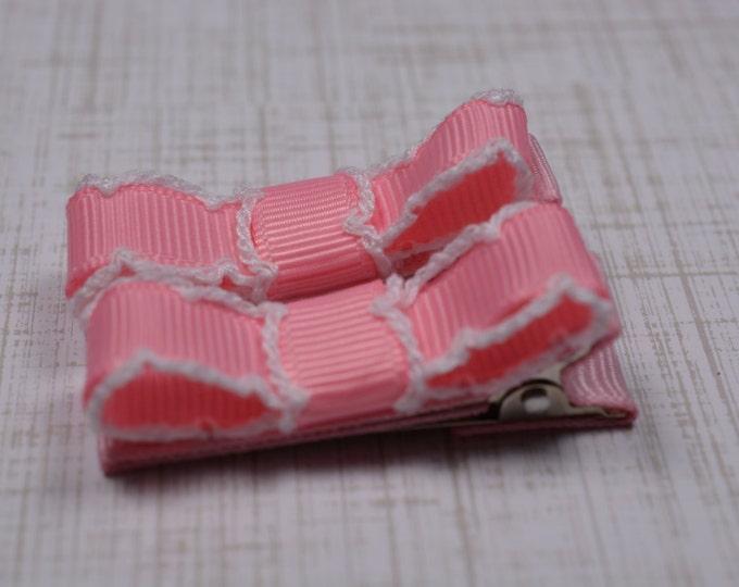 Pink & White Moonstitch Hair Clips Basic Tuxedo Clips Alligator Non Slip Barrettes for Babies Toddler Girl Set of 2