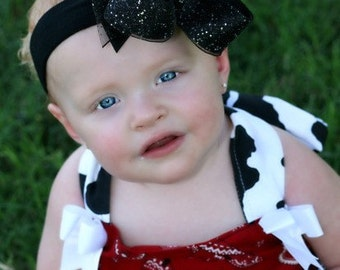 Black Glitter Boutique Hair Bow or Baby Headband,Black Glitter Baby Headband,Black Sparkle Baby Bow,Large Holiday Baby Headbands,Hair Bows,