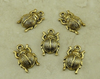 5 Egyptian Scarab Beetle Charms > Egypt Symbol Insect Amulet - American made Lead Free Pewter Gold Tone Finish - I ship internationally