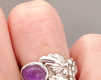 Sterling Silver Amethyst Ring  - Size 5