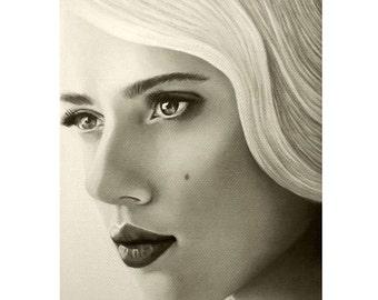 A Mark Of Beauty - Scarlett Johansson - Portrait Artist - By Mixed Media Artist Malinda Prud'homme