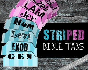 Bible Tabs, Striped, Bible tabs printable, bible tabs download, bible tabs watercolor, bible journal tabs, bible journaling, printable tabs