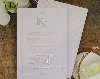Modern Quilted Two-Sided Wedding Invitation, Foil Stamping - IWF16095-GW-RG