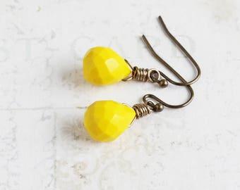 Yellow Teardrop Earrings, Mustard Yellow Dangles, Small Drop Earrings, Quartz Glass Jewelry (Clip On Available)