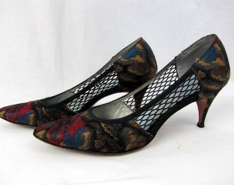 "Vintage 50s/60s Brocade Heels / Mr. Easton / Fabric Pumps / Fishnet Sides / Leather Bottoms / Dancing Shoes / Size 7 Narrow / 3"" Heels"