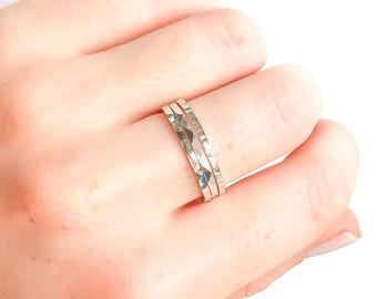 Silver Stacking Rings- Set of 3, Thick Silver Bands, 925 sterling silver