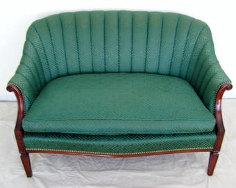Dark Jade Curved Channel Back Vintage Settee