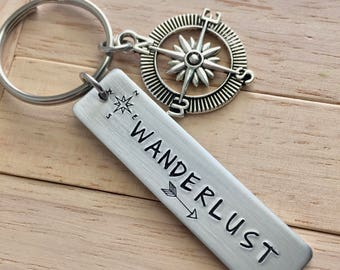 Wanderlust ~ LIGHT WEIGHT Aluminum Key Chain with Compass Charm~Updated