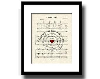 Crazy Love by Van Morrison Sprial Lyric Sheet Music Art Print, Love Song, First Dance Art, Names and Date, Custom Wedding & Anniversary