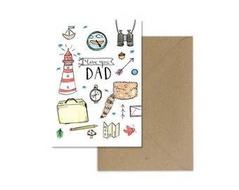 Moonrise Kingdom/Fathers Day Card/Moonrise Kingdom Card/Card for Dad/Fathers Day Gift/Card for Dad/Fathers day gift from Daughter/For Dad