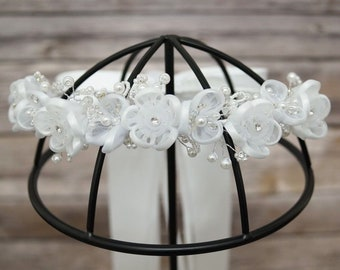 White Flower Girl Wreath with Satin Edge Organza Silk Flowers with Ribbon Bow and Rhinestones/ First Communion Headpiece