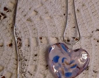 Art Glass Heart Pendant/Silver Chain: