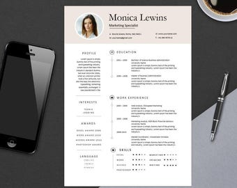 Clean Professional Resume Template for MS Word   Modern Resume Design   CV Template Design   Instant Digital Download   1 Page