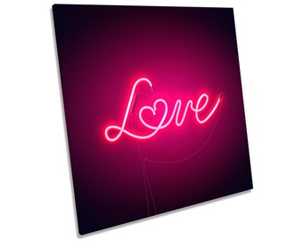 Neon Love Heart Pink Framed CANVAS PRINT Square Wall Art