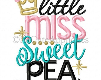 SAMPLE SALE:  Little Miss Sweet Pea Embroidered Shirt - Embroidered, Personalized, Monogram, Sweet Pea, Miss Sweet Pea, Girls, Little Miss
