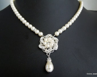 Bridal pearl and crystal necklace, Statement Bridal necklace, Wedding Rhinestone necklace, swarovski crystal and pearl necklace, AMELIA