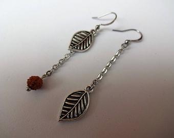 Earrings - stainless steel ear hooks - leaf shape metal charm