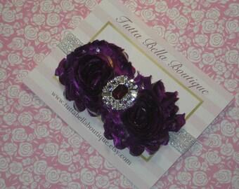 Eggplant Flower Headband, Plum & Silver Rhinestone Headband Silver Headband Baby Headband Toddler Headband Newborn Flower Girl Headband