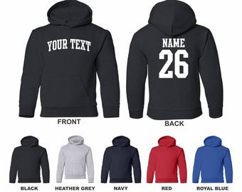 Personalized Custom Name and Number Youth Hooded Sweatshirt, Choose The Text For The Front and Back, ARCHED TEXT