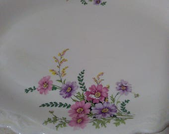 Oval Serving Platter in VR135 by Homer Laughlin - Virginia Rose Pink and Purple Floral Pattern 1930s