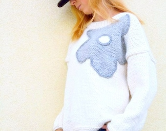 CLEARANCE SALE Chunky  Sweater, White Pullover, Hand Knitted Sweater